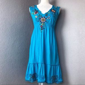 Johnny Was Turquoise Embroidered Boho Dress